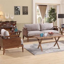 北欧简约实木棉麻布艺沙发组合 实木沙发组合