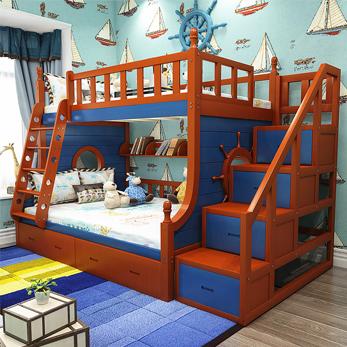 实木高低床子母床上下铺床儿童床地中海风格梯柜床双层床