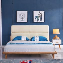 北欧简约现代布艺床1.5、1.8米小户型布艺床
