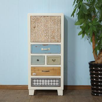 美式乡村地中海实木斗柜玄关柜复古做旧彩绘储物收纳柜家具装饰柜