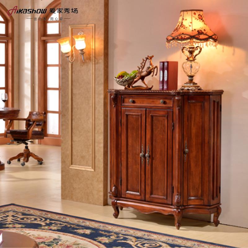 美式乡村酒柜 客厅实木玄关间厅柜绘半圆柜收纳柜包邮